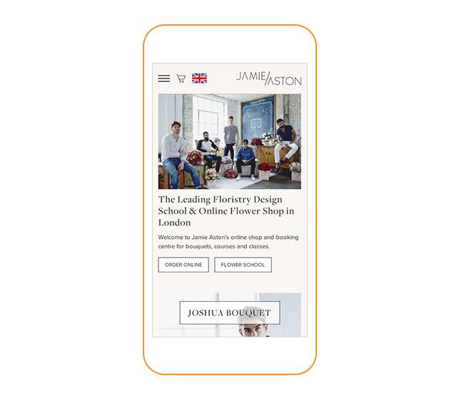 Jamie Aston website on smartphone