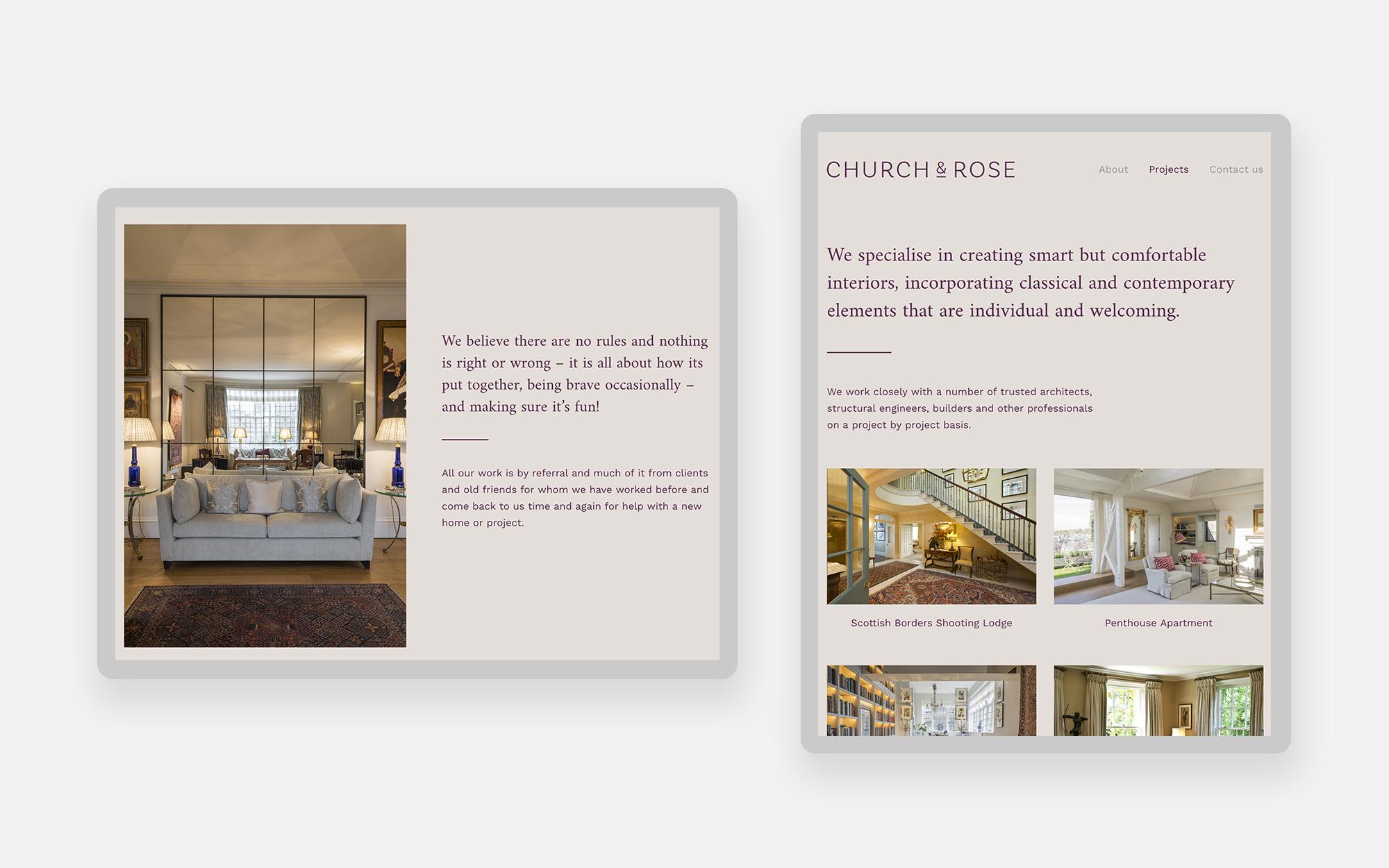 Church & Rose Web Design 2