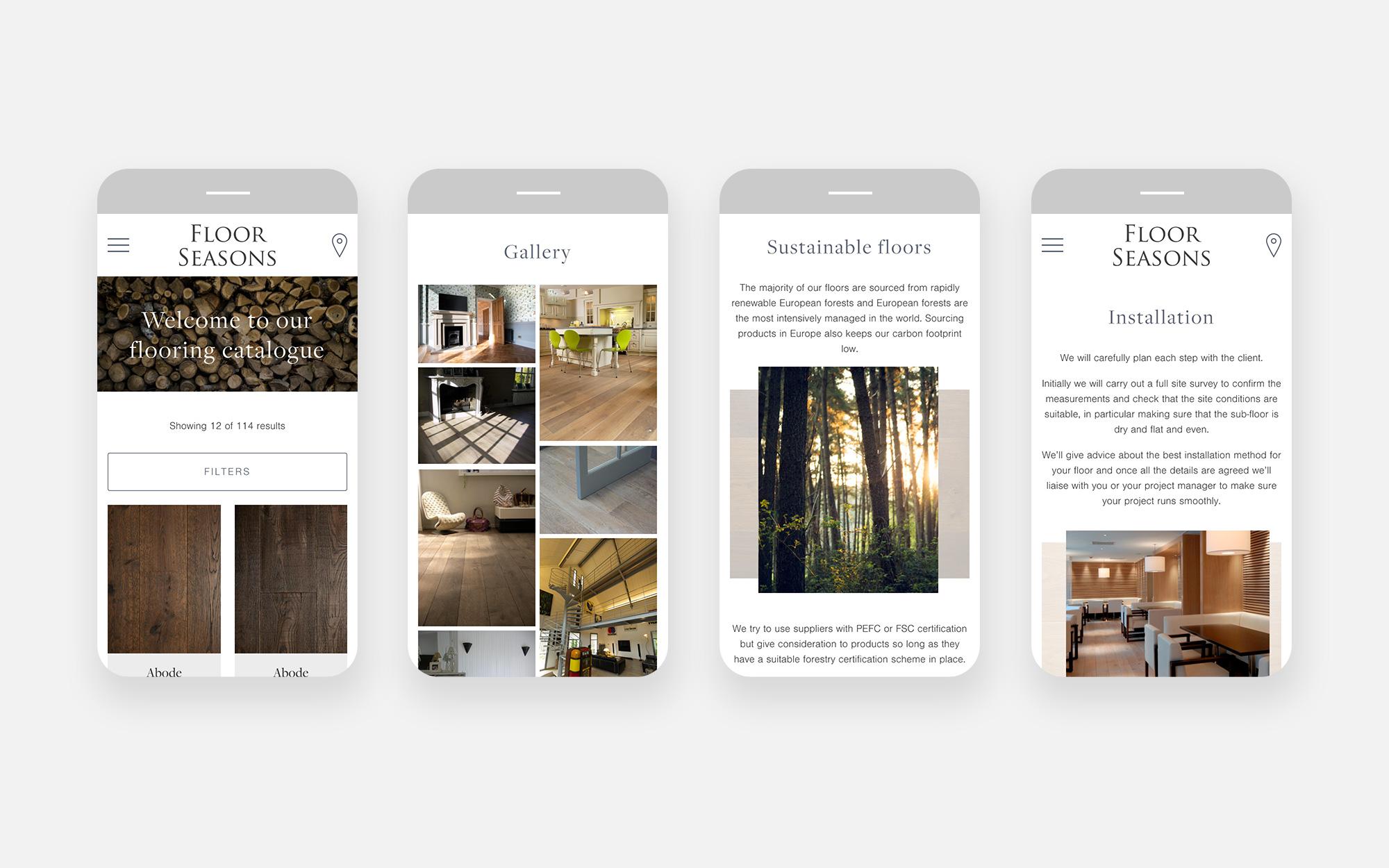 Floor Seasons Website design - mobile