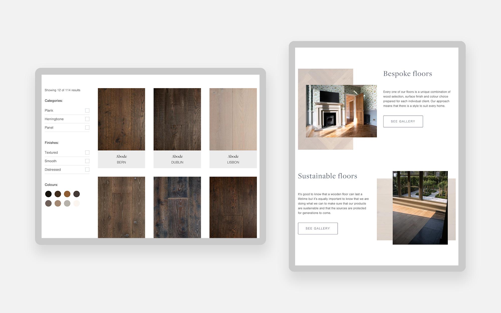 Floor Seasons Website design - tablet