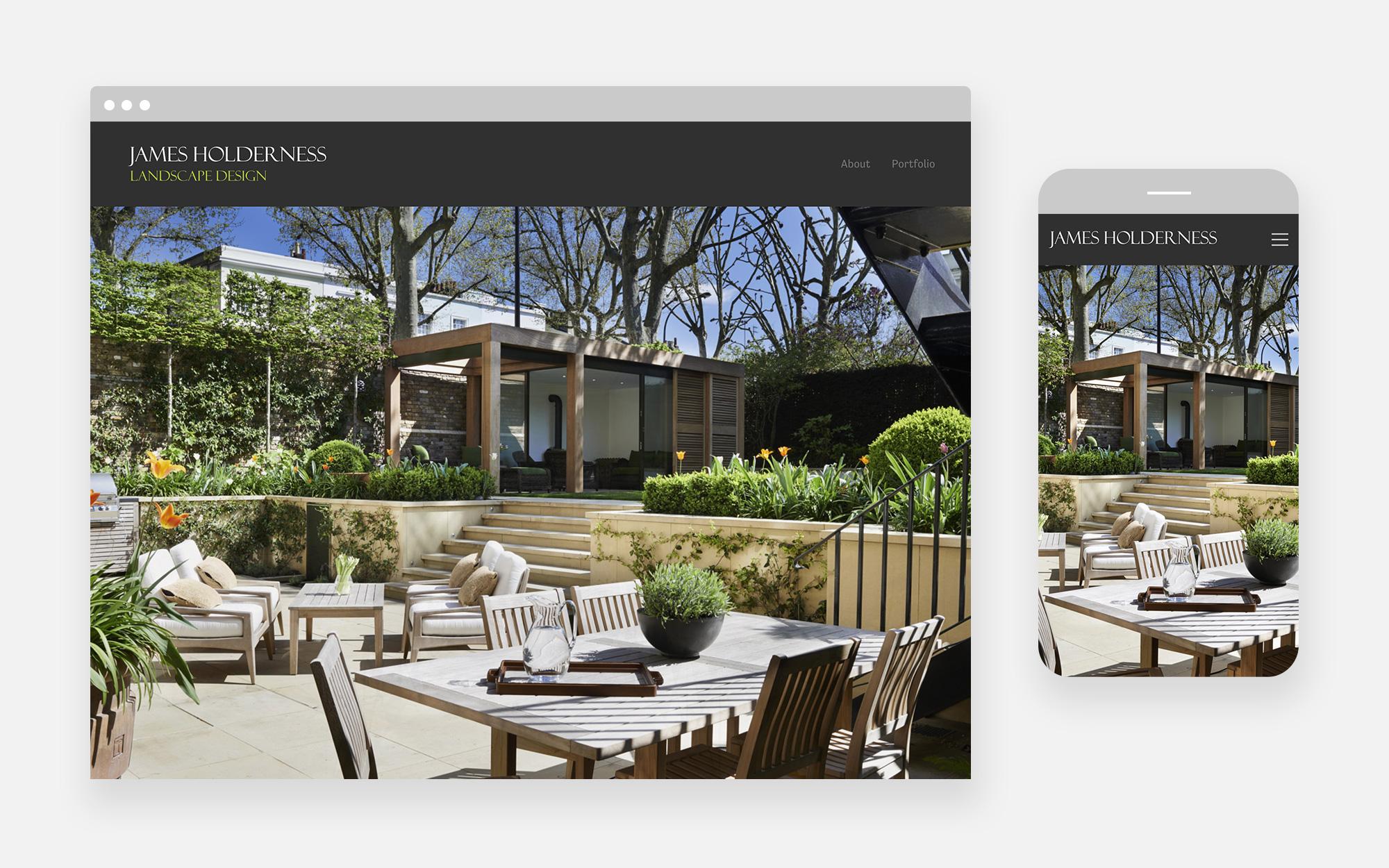 James Holderness Landscape design website design 1