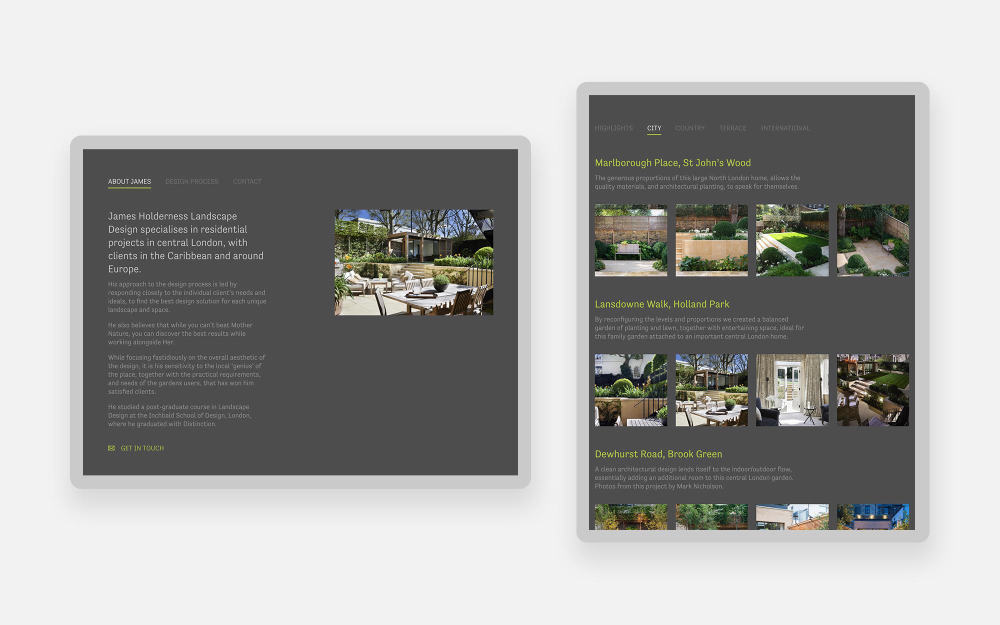 James Holderness Landscape design website design 2