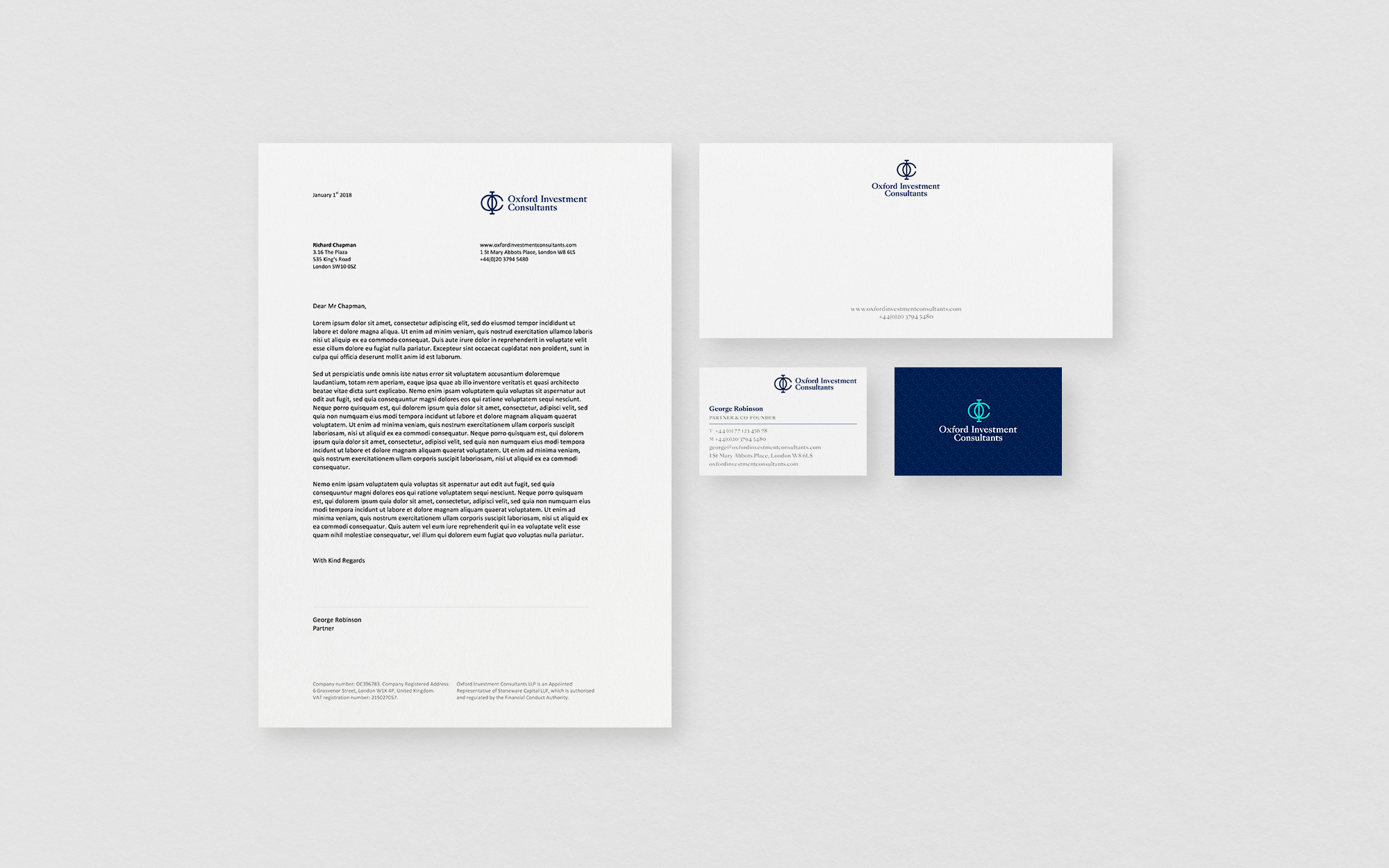 Oxford Investment Consultants Stationary Design